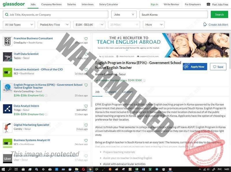 Скриншот сайта поиска работы в Южной Корее glassdoor.com
