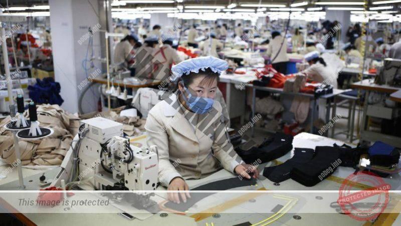 Цех в южнокорейской швейной фабрике