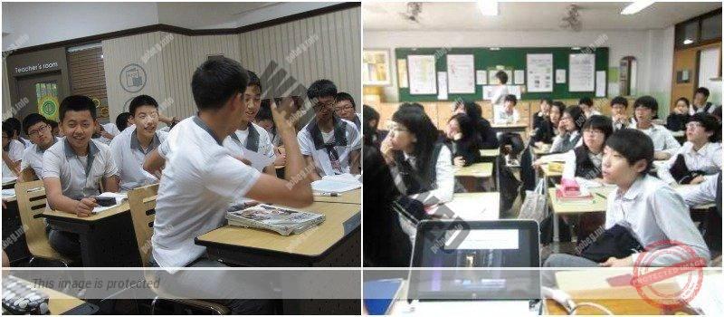 Ученики средней школы Южной Кореи на занятиях