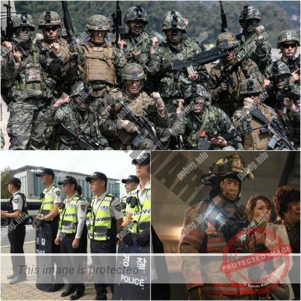 Солдаты Южной кореи и несущие службу полицейскими и пожарниками