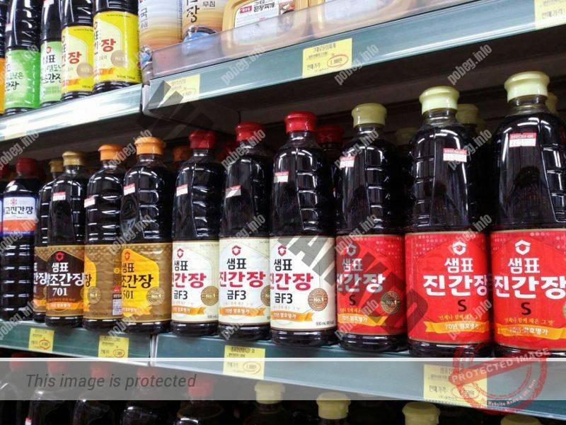 Соевый соус на прилавках супермаркета